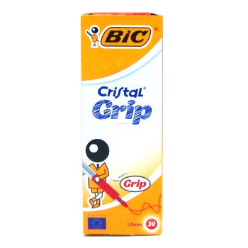 STYLO BILLE ROUGE CRISTAL GRIP BIC ....PAQ(20)=