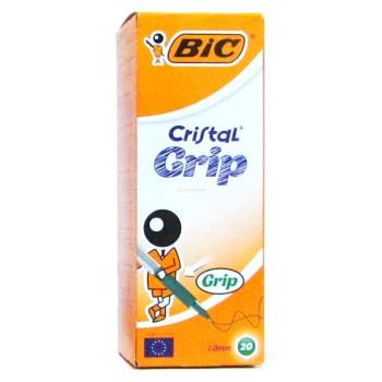 STYLO BILLE VERT CRISTAL GRIP BIC ....PAQ(20)=